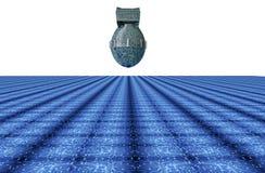 Datoren för det Digital säkerhetsbegreppet bombarderar i elektronisk miljö, Arkivfoton