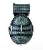 Datoren för det Digital säkerhetsbegreppet bombarderar isolerat på vit Arkivfoton