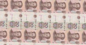 Datoren frambragte längd i fot räknat med övergångar av amerikanska och kinesiska sedlar arkivfilmer
