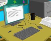 Datoren på ett arbetsskrivbord och någon annan fungerar utrustning Fotografering för Bildbyråer