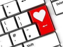 Datoren skrivar förälskelse Fotografering för Bildbyråer