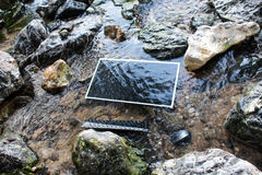 Datoren under yttersidan av vattnet royaltyfria foton
