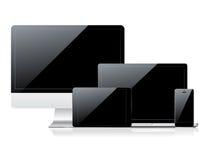 Datoren övervakar, smartphone-, bärbar dator- och tabletPC:n Arkivbilder