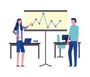 Datorer f?r skrivbord f?r br?de f?r presentation f?r kontor f?r aff?rsman och kvinna royaltyfri illustrationer
