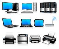 datorer som beräknar skrivarteknologi Royaltyfri Foto