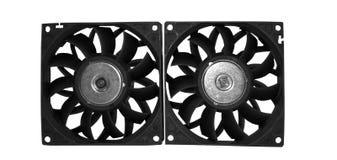 Datorfall som kyler fans som isoleras på vit bakgrund Royaltyfria Bilder