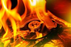 Datorhårddiskburning royaltyfri bild