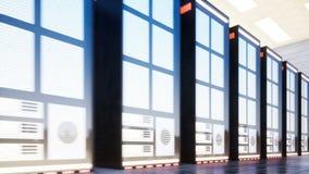 Datorhall med serveror i ett stort rum arkivfilmer