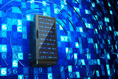 Datorhall, nätverksserver, vara värd för internet och datateknikbegrepp Arkivbilder
