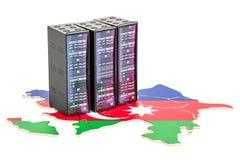 Datorhallserveren racks i det Azerbajdzjan begreppet, tolkningen 3D Royaltyfria Foton