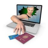 Datoridentitetsstöld av den UK-stlylepasset och kreditkorten Fotografering för Bildbyråer