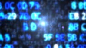 Datorkoden i form av suddigt blå i lager skärm för koddator djupt stock illustrationer