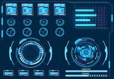 Datorledning, faktisk grafisk användargränssnitt, HUD beståndsdelar illustration Arkivbild