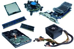 Datormaskinvara, hårddisk, CPU, CPU-fan, RAM, vga-kort och strömförsörjning, Arkivbild