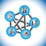 DatorMiddlewarepunkt som pekar integration Arkivbild
