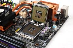 Datormoderkort med processorchipen Royaltyfri Fotografi