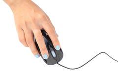 Datormus i handen som isoleras på vit Fotografering för Bildbyråer