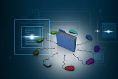Datormus med mappmappen Arkivbilder