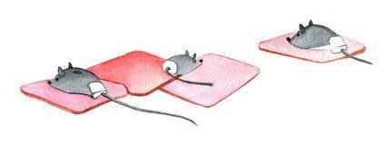 Datormus, mus för 3 dator på ett mattt gummi vektor illustrationer