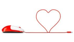 Datormus och kablar i form av hjärta på en vit Arkivbilder