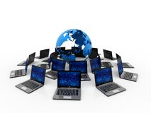 Datornät internetkommunikation som isoleras i vit bakgrund framförande 3d royaltyfri bild