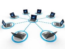 Datornät som isoleras i vit bakgrund Nätverksanslutning, internetbakgrund 3d framför royaltyfria foton