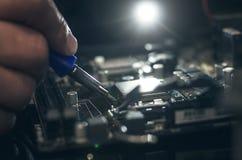 Datorprocessor, arbete med CPU-håligheten Royaltyfri Bild