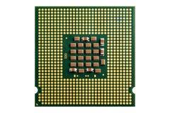 Datorprocessor och element på vit bakgrund arkivfoton