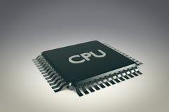 Datorprocessorenhet på grå bakgrund Royaltyfria Foton