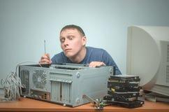 Datorrepairman Datorteknikertekniker serviceservice för illustration 3d Arkivbild