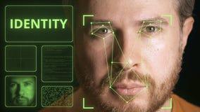 Datorsäkerhetssystem som identifierar framsidan av en man Släkt bild för identitet royaltyfri bild