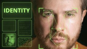 Dators?kerhetssystem som identifierar framsidan av en man Släkt gem för identitet royaltyfri illustrationer