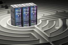 Datorserveren Racks inom labyrintlabyrint, tolkningen 3D royaltyfri illustrationer
