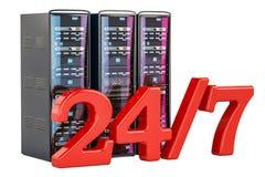 Datorserveren Racks 24/7 Service- och servicebegreppet, 3D sliter Royaltyfri Foto
