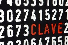 Datorskärm med clavetext och nummer på svart bakgrund Royaltyfri Fotografi