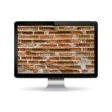 Datorskärm med tegelstenväggen firewallen för begreppet 3d keys låsmodellen Royaltyfri Fotografi