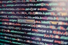 Datorskärm som visar programkod royaltyfri foto