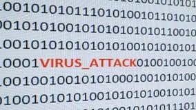 Datorskärmdumpen med binär kod och varning smsar, begreppet för dator, teknologi och online-säkerhet royaltyfri foto