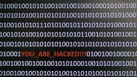 Datorskärmdumpen med binär kod och varning smsar, begreppet för dator, teknologi och online-säkerhet royaltyfria foton