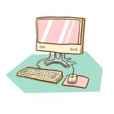 Datorskrivbord med bildskärmen, musen och tangentbordet Arkivbild