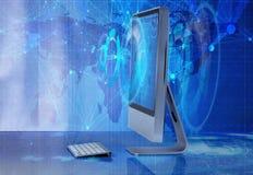Datorskärmen i affärsidé Fotografering för Bildbyråer