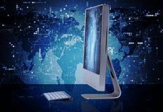 Datorskärmen i affärsidé Royaltyfria Bilder