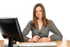 datorståendekvinna Royaltyfria Bilder