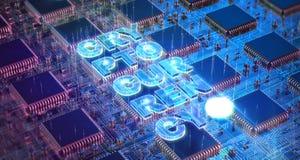 Datorströmkretsbräde med åtskilliga asic chiper och cryptocurrencyord Blockchain Cryptocurrency som bryter begrepp 3d Royaltyfri Fotografi