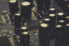 Datorströmkretsbräde med mikroprocessorn Royaltyfri Bild