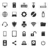 Datorsymboler på vit bakgrund Arkivfoto