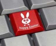 Datortangent - lycklig påsk med kanin Royaltyfria Foton