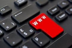 Datortangent med text www Arkivfoto