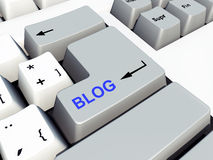 Datortangentbord med bloggtangent Arkivbild