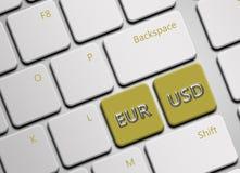 Datortangentbord med euro- och dollarknappar Royaltyfri Fotografi